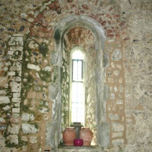 A restored Norman lancet window