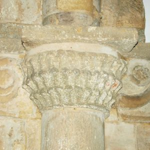 carved column imposts on the tower arch
