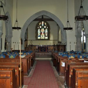 The nave looking towards the chancel and east window