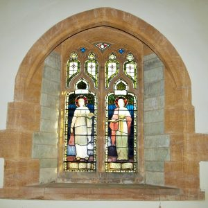 Stained glass depicting Martha and Mary