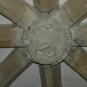 Salamander ceiling boss in the north porch