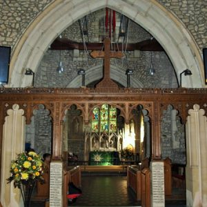 The carved rood screen and rood