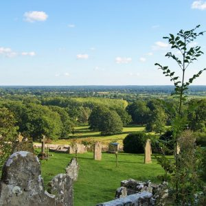The stunning panoramic view southwards from the churchyard