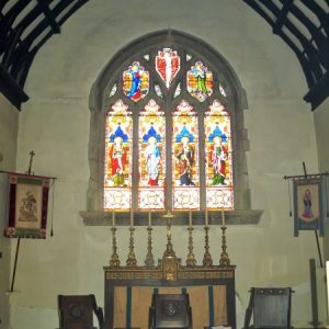 The east window of the 15th century chancel