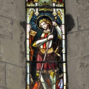 Stained glass depicting St George