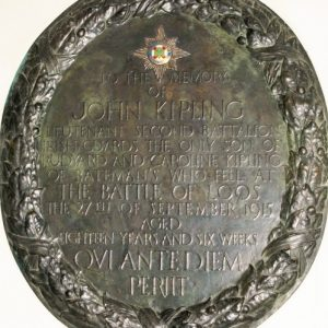 An oval memorial in bronze