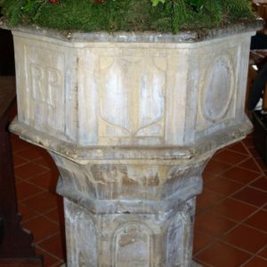 The octagonal font at Mayfield curch