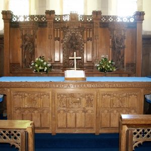 Carved wooden altar and reredos
