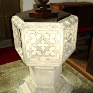 Finely carved hexagonal font