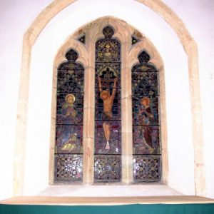 The east window with glass depicting the Crucifixion