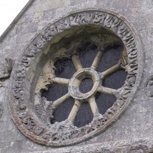 Close-up of the wheel window
