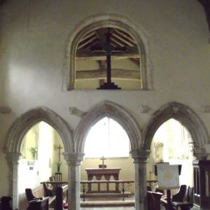 Capel-le-Ferne chancel wall with 3 arches
