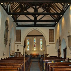The view from nave to chancel and tower arch