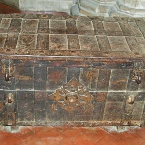An iron chest, probably imported