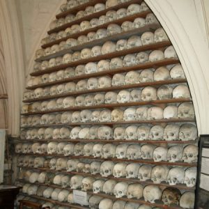 Sculls stacked in the ossuary
