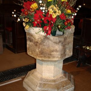 The octagonal stone font