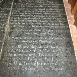 One of two ledger slabs in the chancel floor