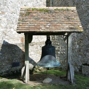 15th century bell outside of the church