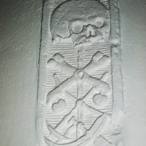 Carving on nave wall