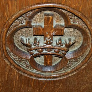 Wood carving on pew end