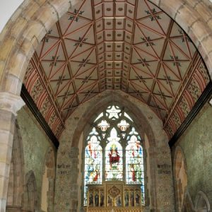 Chancel roof, reredos and east window
