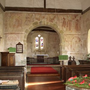 A general view of the 12th century murals