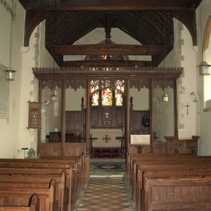 The nave looking towards the chancel screen