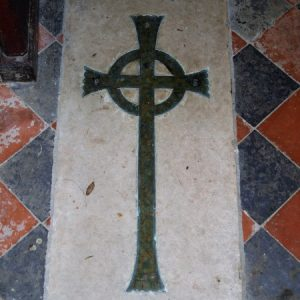 Celtic cross on floor slab in nave