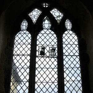 3-light window with ancient glass