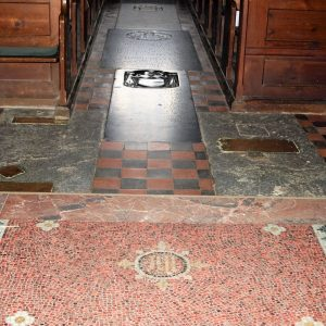 The mosaic floor in the chancel.