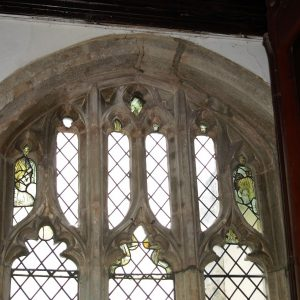 Ancient glass in north aisle east window