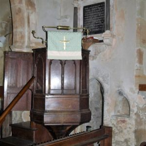 The pulpit, piscina, and rood stairs entrance