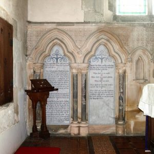 Part of the chancel east wall