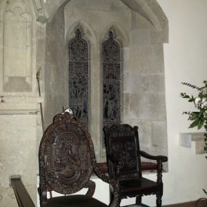 Carved oak chairs in the chancel