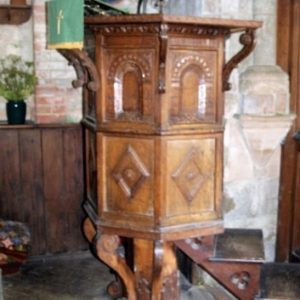The 17th century oak pulpit
