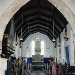 The 13th century chancel arch and chancel