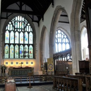 The chancel east window and choir vestry screen