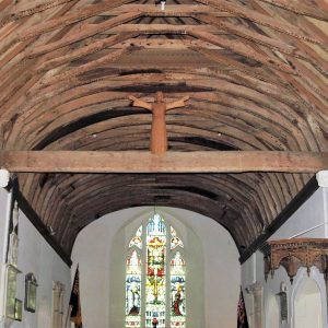 The nave roof and rood beam
