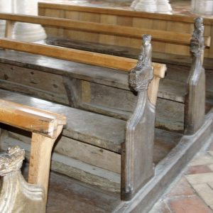 Carved pew ends in the nave