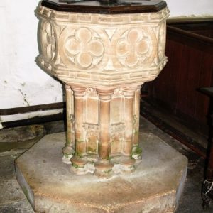 The restored octagonal font