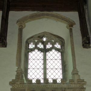 A 2-light clerestory window in the nave