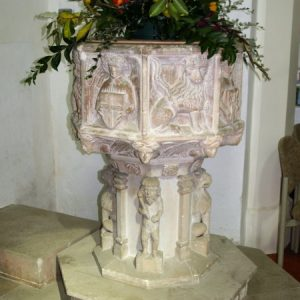 The re-cut early 15th century font