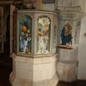 The decorated pulpit at Berwick