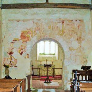 Christ in mandorla above chancel arch