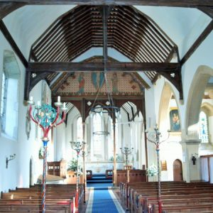 The nave looking east towards the chancel screen