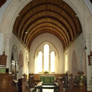 The chancel with oak boarded wagon roof