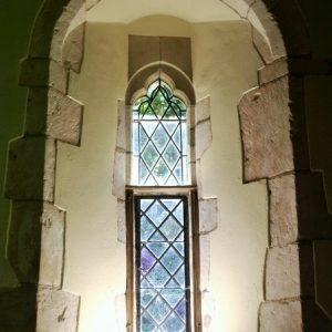 One of two south lancet windows