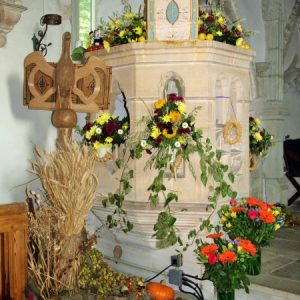 The pulpit at Harvest Festival