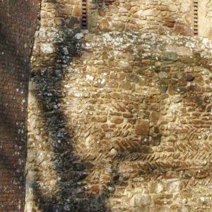 Herringbone brickwork in tower