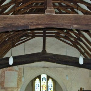 14th century crown post roof in nave